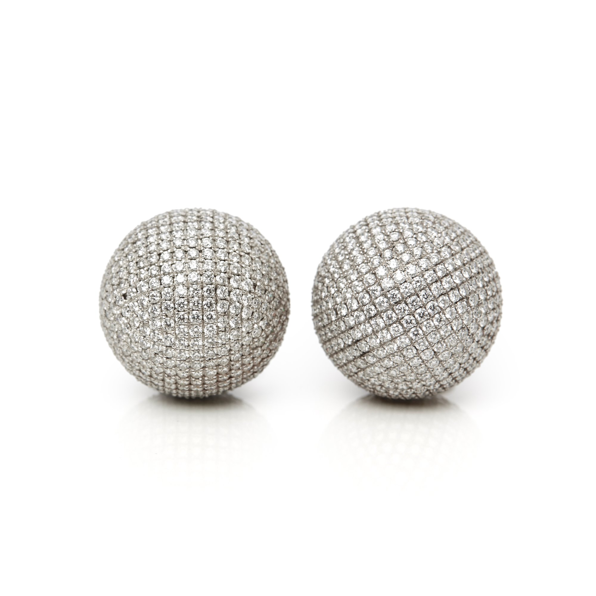 Bottega Veneta 18k White Gold Diamond Sfera Drop Earrings