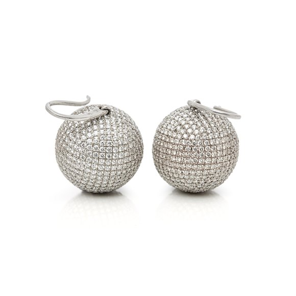 Bottega Veneta 18k White Gold Diamond Sfera Drop Earrings