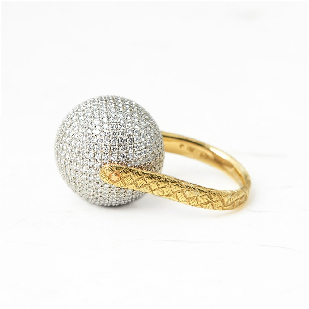 Bottega Veneta 18k Yellow & White Gold Diamond Sfera Ring