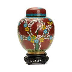 VINTAGE CHINESE LIDDED CLOISONNE TEA CADDY c.1920