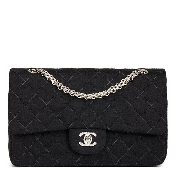 Chanel Black Quilted Jersey Fabric Vintage Medium Classic Double Flap Bag