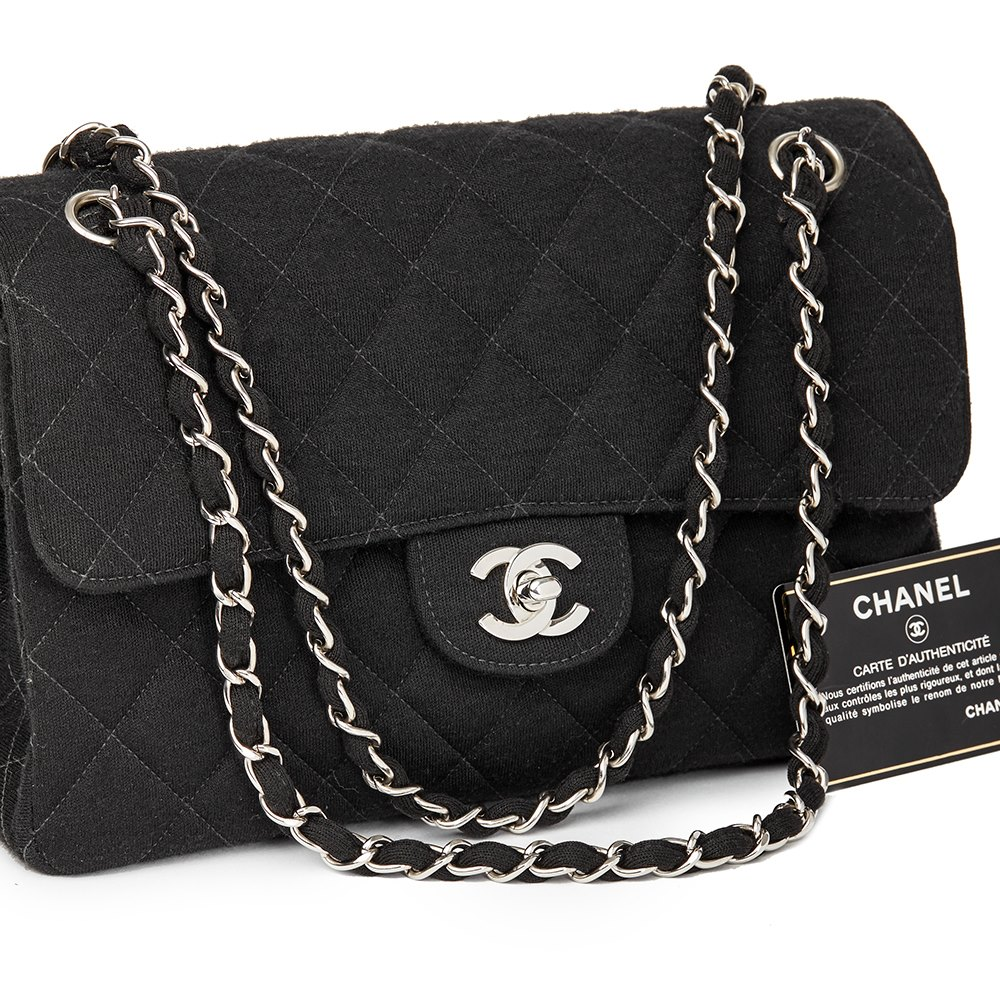 7834ef4e06fb Chanel Black Quilted Jersey Fabric Vintage Medium Double Sided Classic Flap  Bag