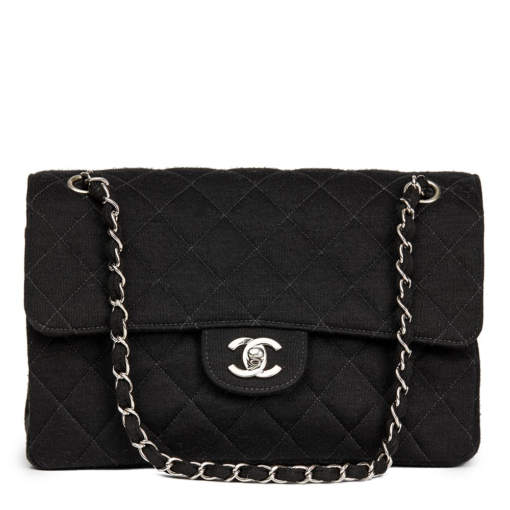 d2f9fd0c15b09 Chanel Black Quilted Jersey Fabric Vintage Medium Double Sided Classic Flap  Bag