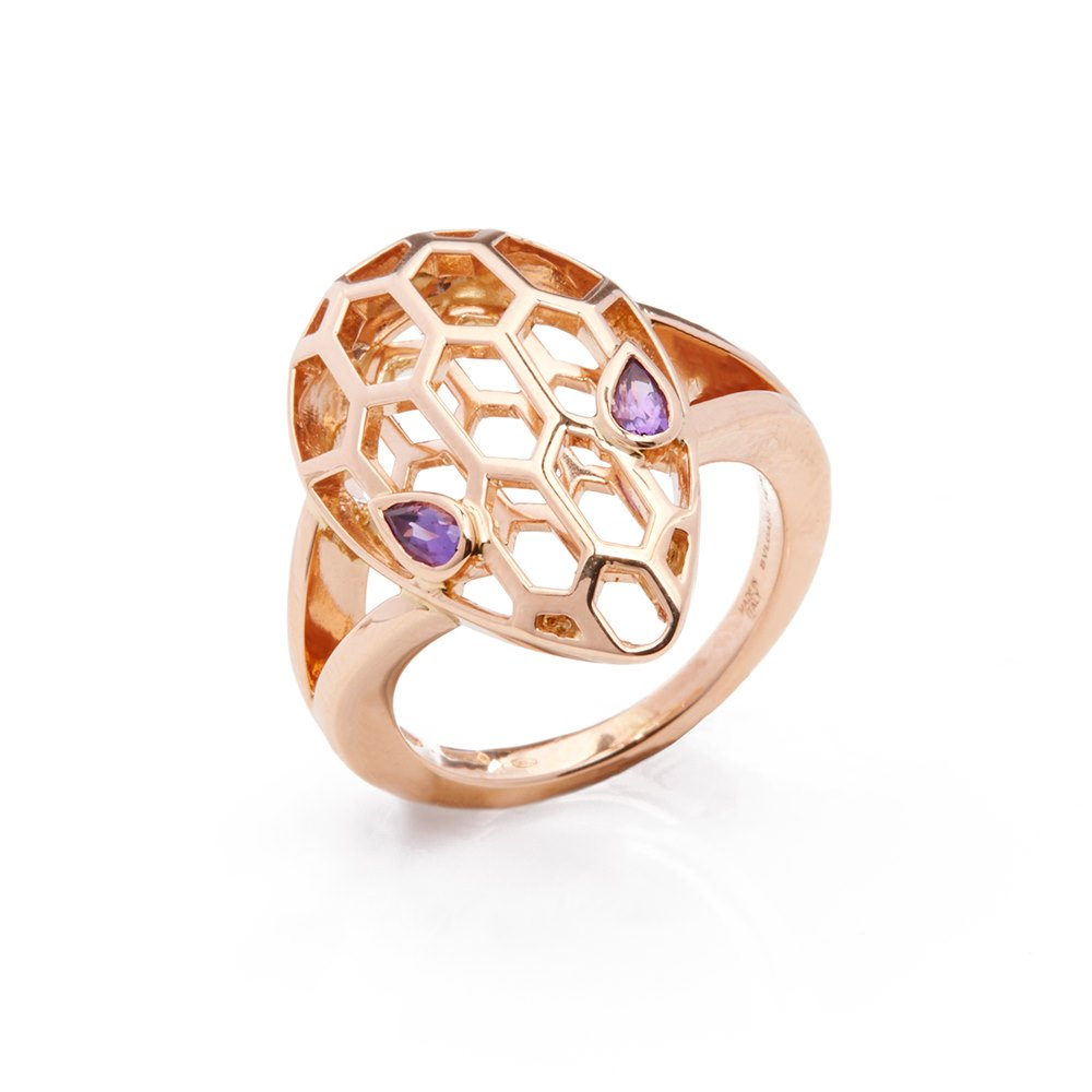 Bulgari 18k Rose Gold Serpenti Amethyst Ring