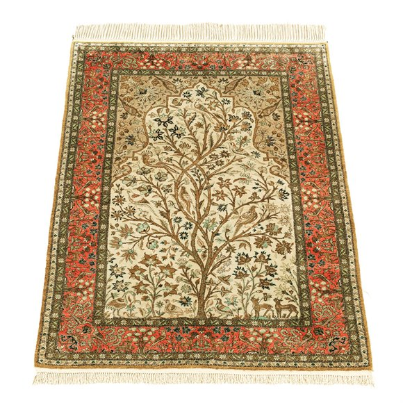 VINTAGE 'TREE OF LIFE DESIGN' SILK QUM PERSIAN RUG C.1960