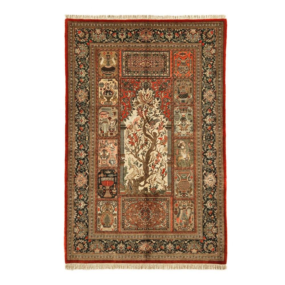 Vintage Part Silk Qum Persian Rug