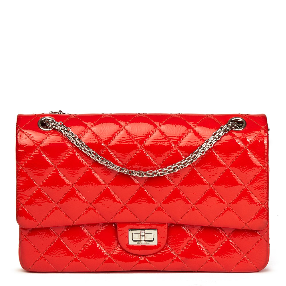 a082ae33f7de Chanel Coral Orange Quilted Patent Leather 2.55 Reissue 226 Double Flap Bag