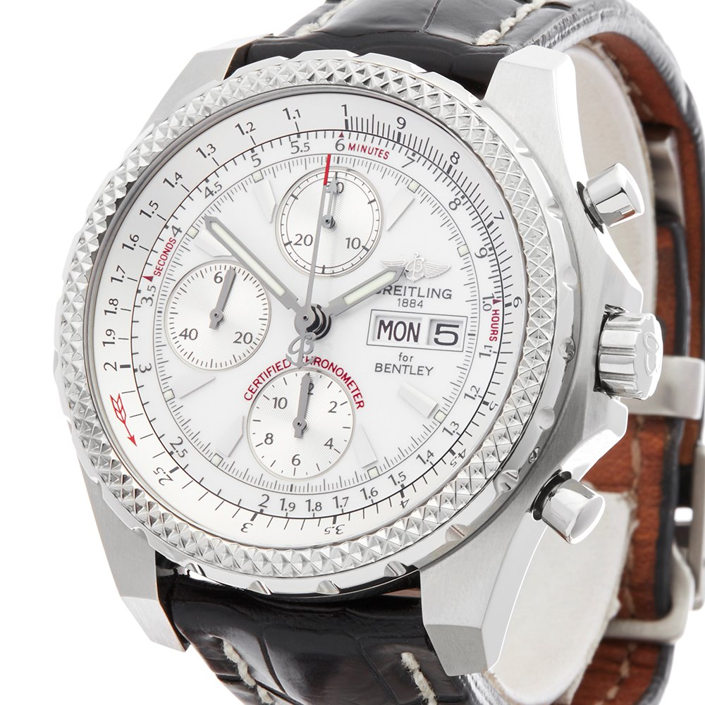 gmt men stainless mens steel dial breitling silver s watch bentley chronograph