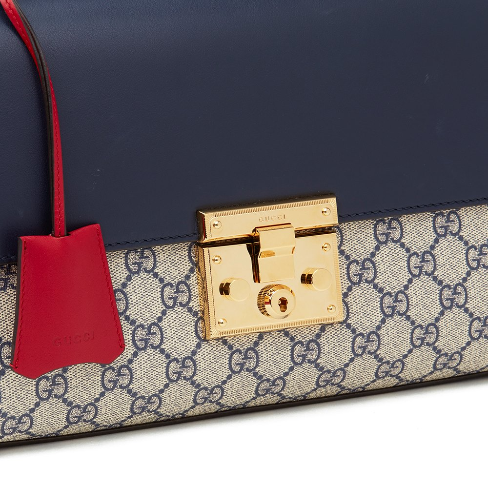 0abd8bc90ad7 Gucci Blue, White, Hibiscus Red Calfskin Leather & Blue GG Supreme Canvas  Padlock Shoulder