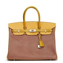 Hermès Bois De Rose, Jaune & Vert Anis Box Calf Leather Special Order Birkin 35cm