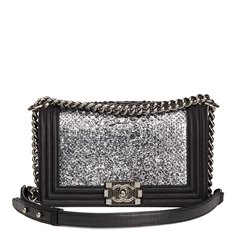 Chanel Silver Python Leather & Black Metallic Goatskin Leather Medium Le Boy