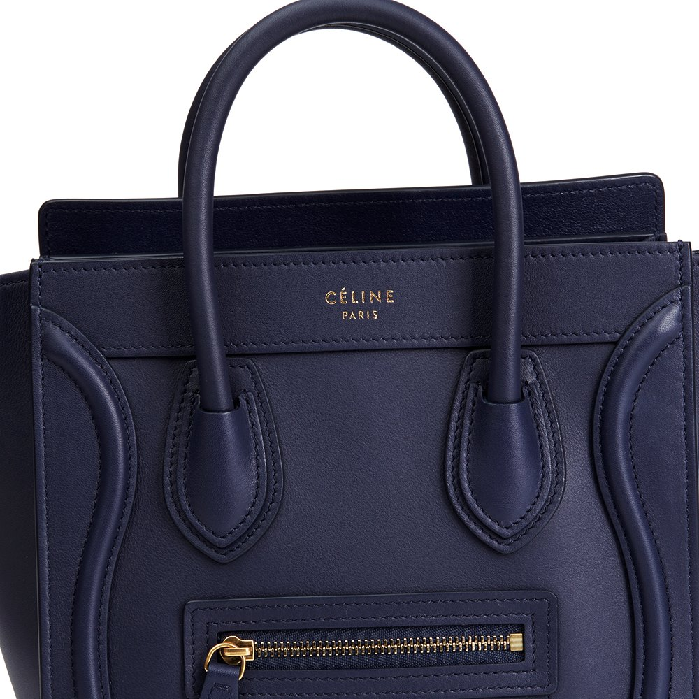 ac47d996b0 Céline Ink Blue Smooth Calfskin Leather Nano Luggage Tote