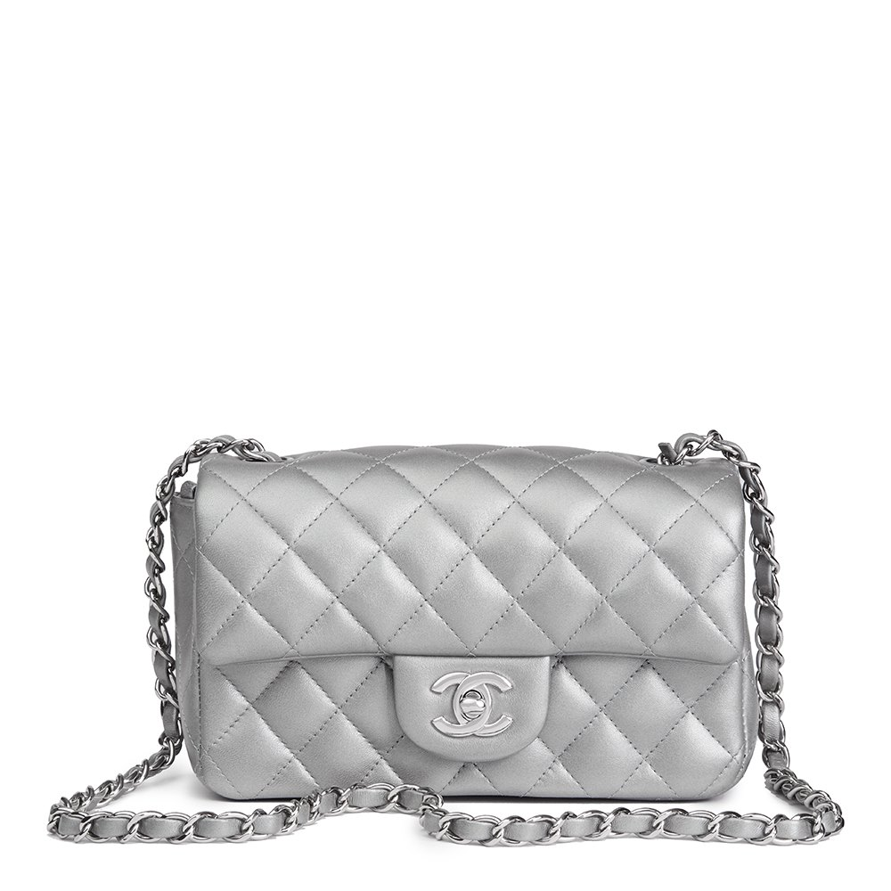 Chanel Silver Metallic Quilted Lambskin Rectangular Mini Flap Bag