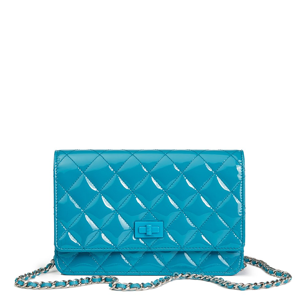 47e81e3b03c0 Chanel Turquoise Quilted Patent Leather Reissue Wallet-On-Chain WOC