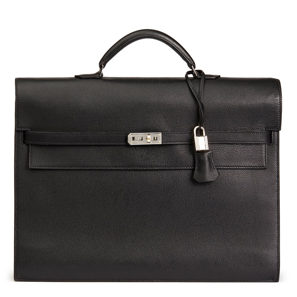6187e2dd0df0 Hermès Black Epsom Leather Kelly Depeche Briefcase