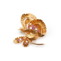 Kutchinsky 18k Yellow Gold Ruby & Diamond Vintage Brooch
