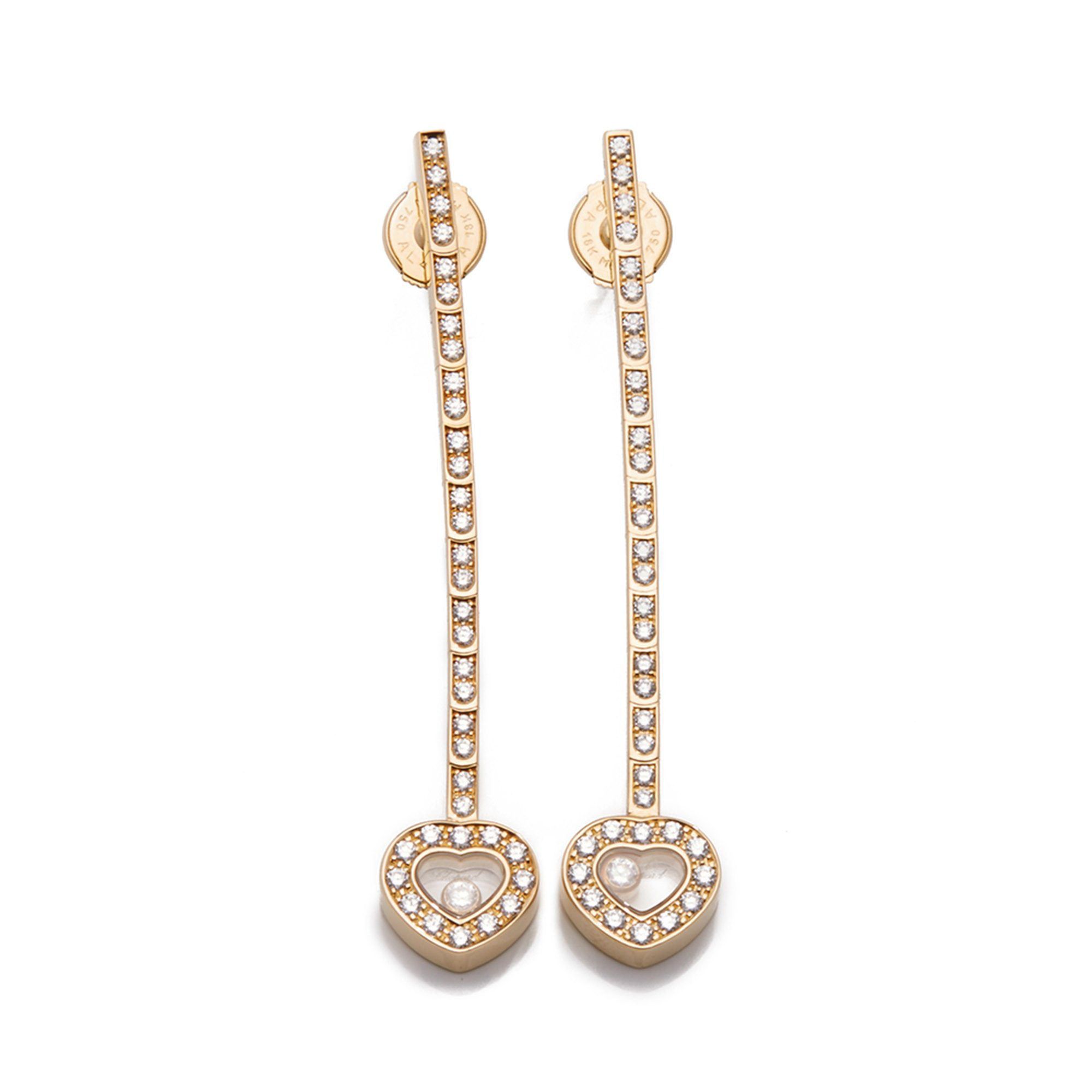 Chopard 18k Yellow Gold Happy Diamonds Long Drop Earrings
