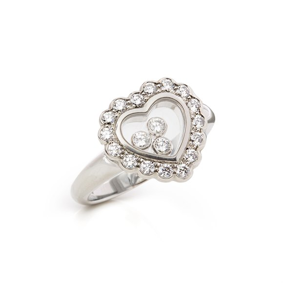 Chopard 18k White Gold Happy Diamonds Ring