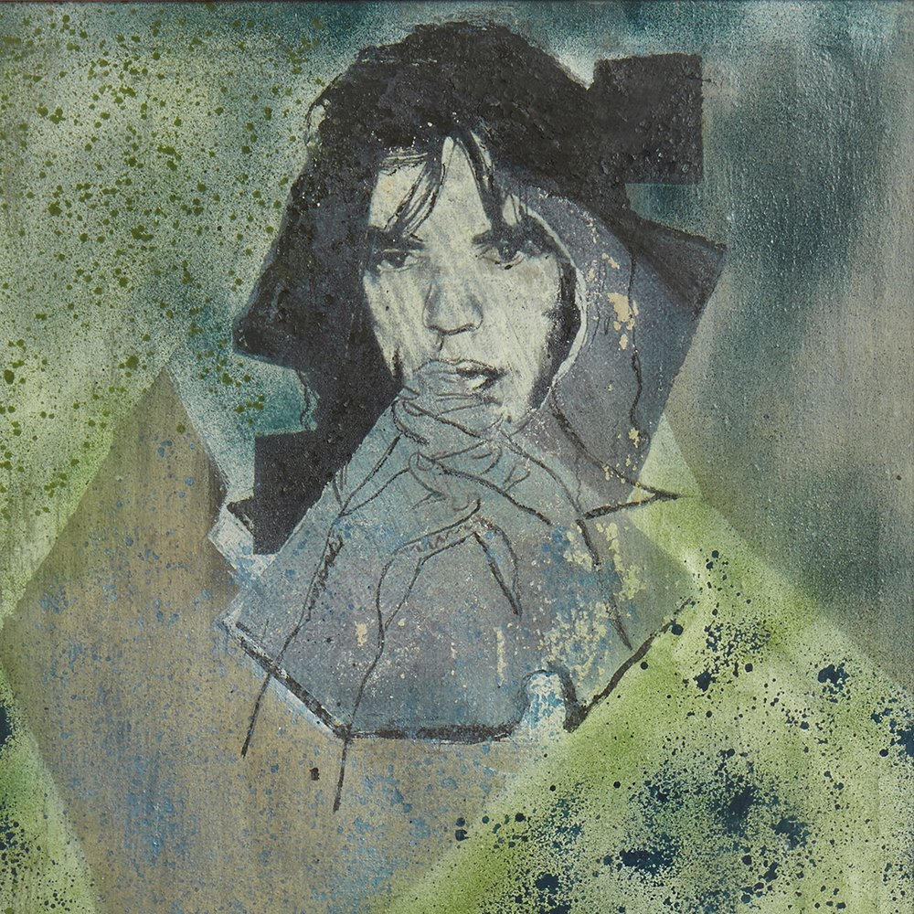 PIETRO PSAIER MICK JAGGER MIXED MEDIA ON CANVAS 1970's Believed to date from 1970's