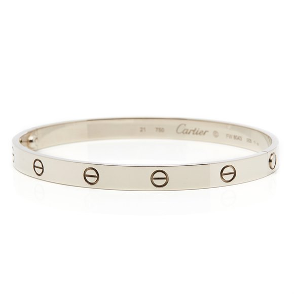 Cartier 18k White Gold Love Bracelet Size 21