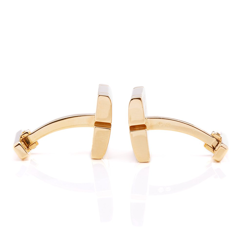 Cartier 18k Yellow Gold Diamond Tank Francaise Cufflinks
