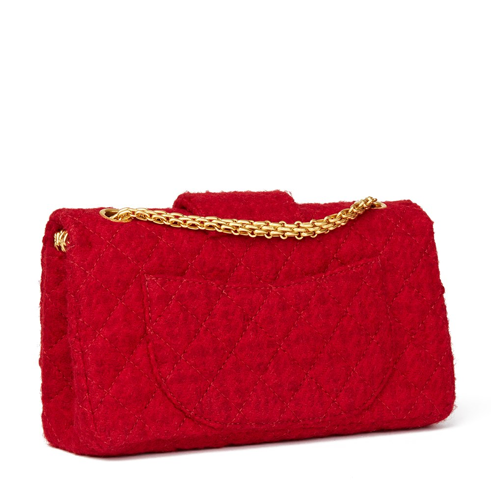 95025b9e248c Chanel Red Quilted Wool Fabric Romanov Charms 2.55 Reissue 225 Double Flap  Bag