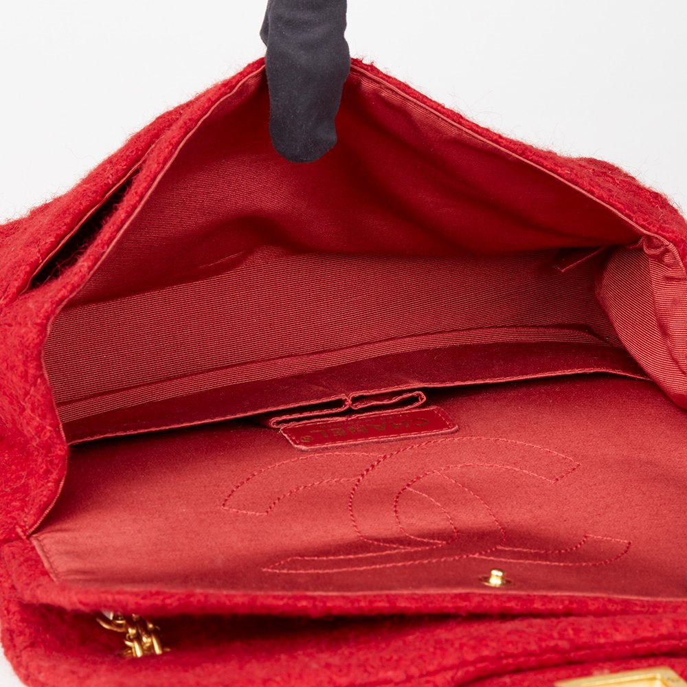 8ebbe6e7f55ef2 Chanel Red Quilted Wool Fabric Romanov Charms 2.55 Reissue 225 Double Flap  Bag