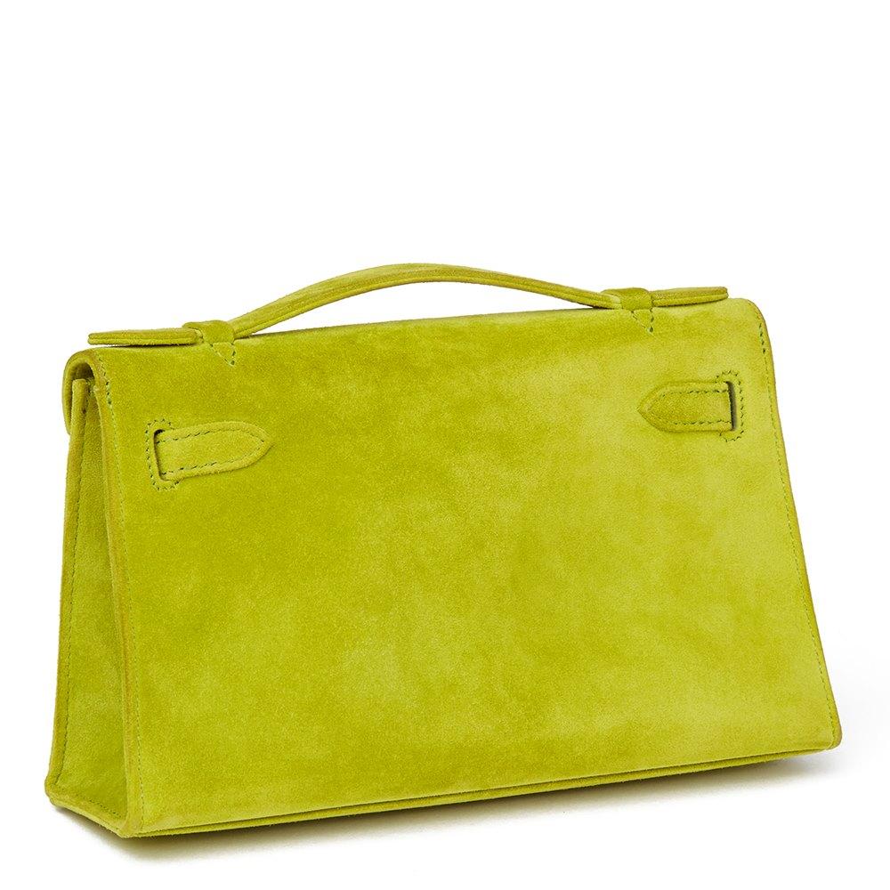 35f8e77de2bf ... best price hermès vert anis veau doblis suede kelly pochette 472aa b69dd