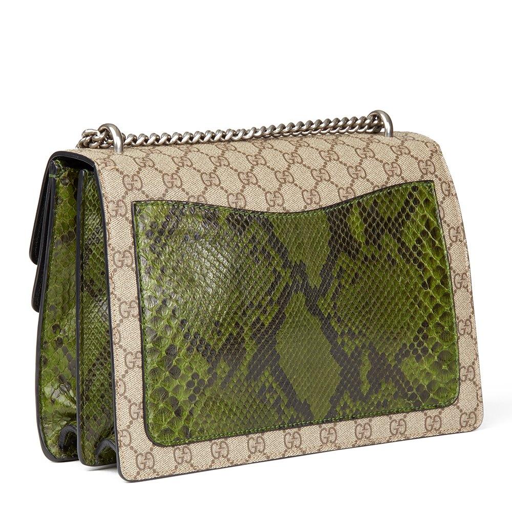 27cb43896fa Gucci GG Supreme Coated Canvas   Green Python Leather Medium Dionysus