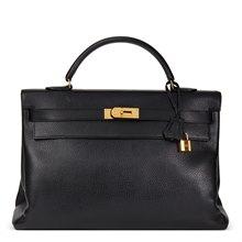 Hermès Black Ardennes Leather Vintage Kelly 40cm Retourne