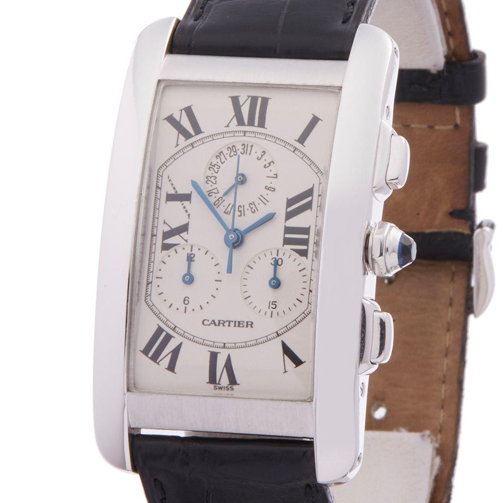 Cartier Tank Americaine Chronograph 18k White Gold 2312