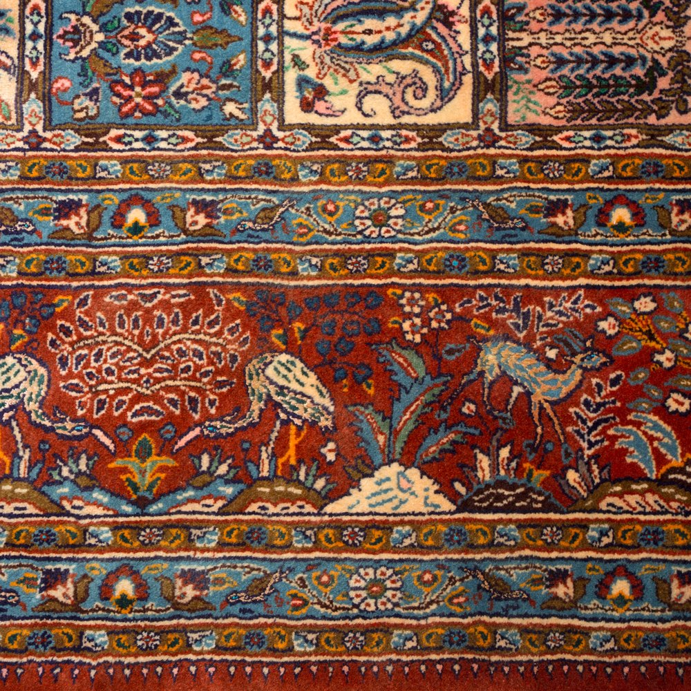 LARGE VINTAGE SQUARE MOOD GARDEN PERSIAN RUG Unknown