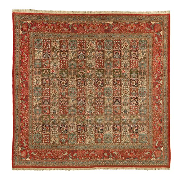 LARGE VINTAGE SQUARE MOOD GARDEN PERSIAN RUG