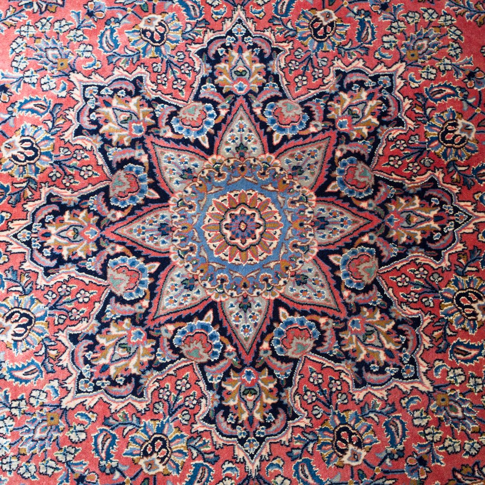 LARGE VINTAGE SHERKAT ESFAHAN PERSIAN RUG Unknown