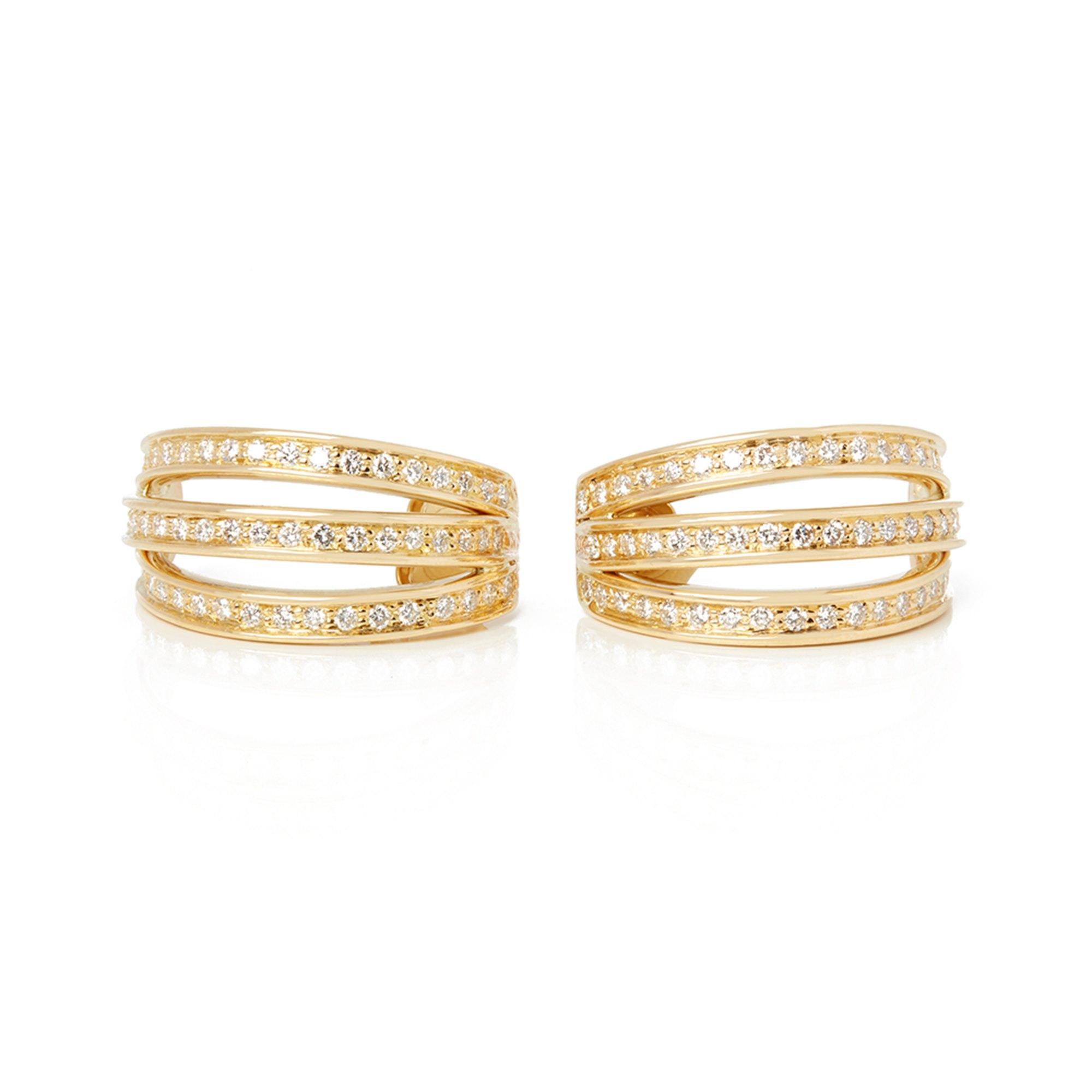 Cartier 18k Yellow Gold Three Row Diamond Earrings