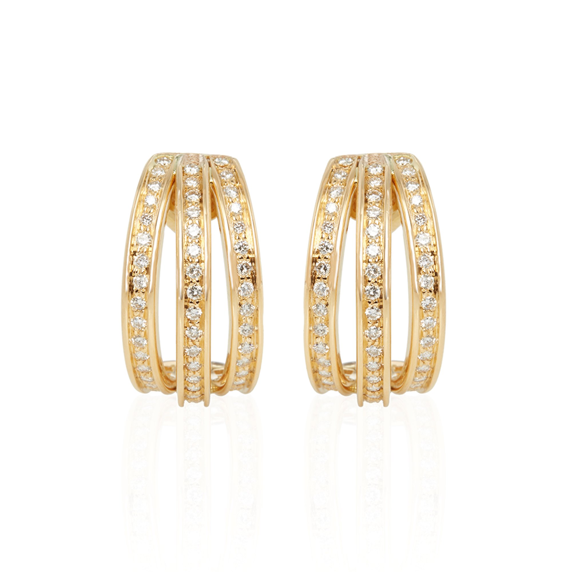 Cartier 18k Yellow Gold Three Row Diamond Earrings