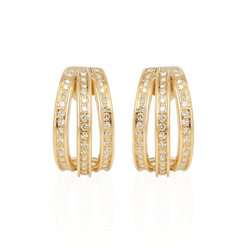 Cartier 18k Yellow Gold Diamond Trinity Earrings