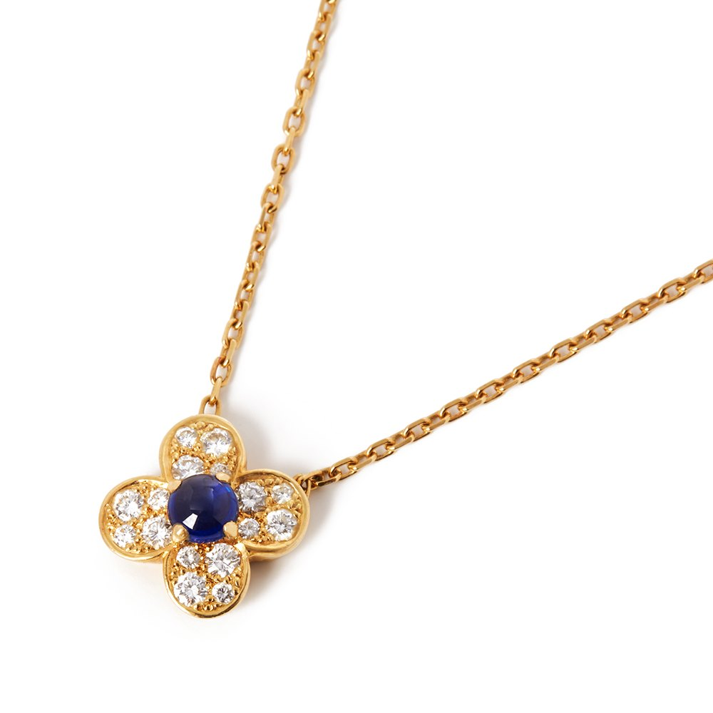 Van Cleef & Arpels 18k Yellow Gold Sapphire & Diamond Flower Trefle Necklace