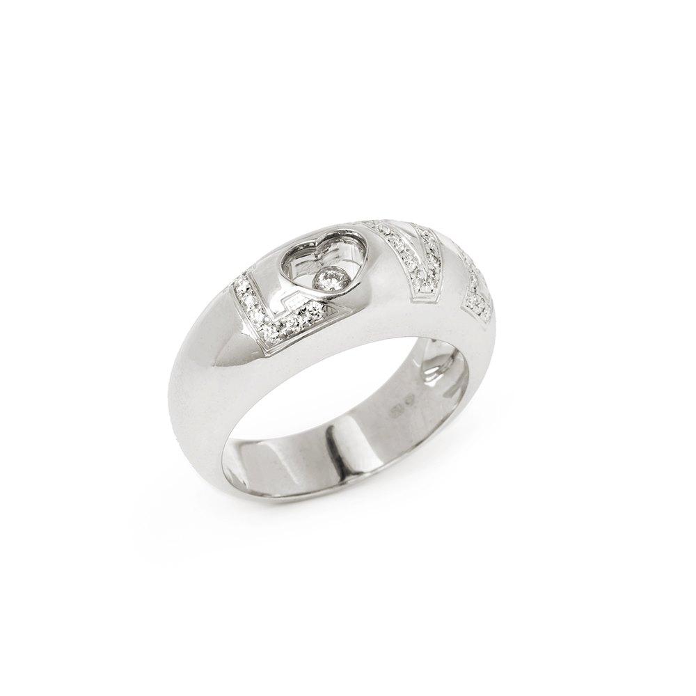 Chopard 18k White Gold Happy Diamonds Love Ring Size P