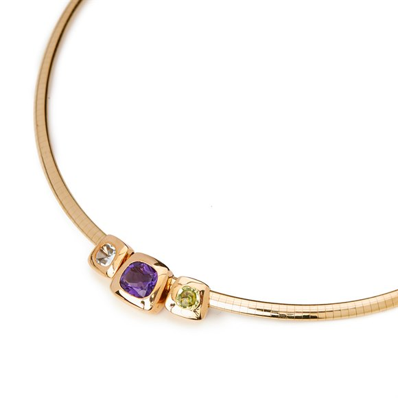 Chanel 18k Yellow Gold Amethyst Peridot Baroque Necklace