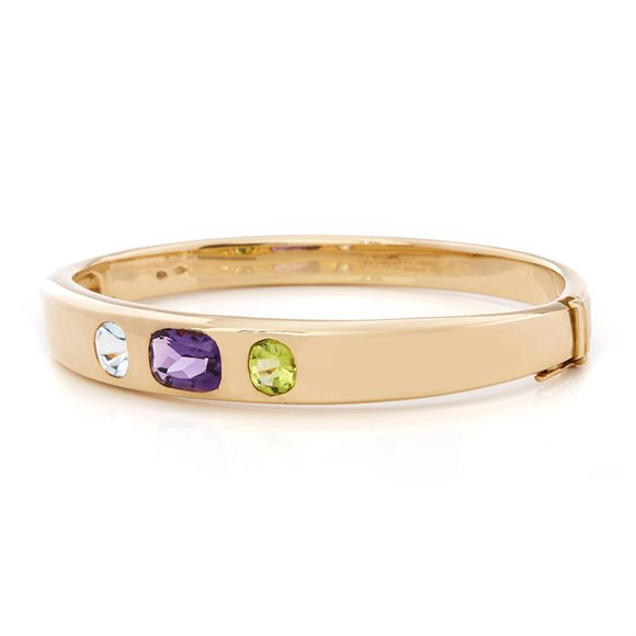 Chanel 18k Yellow Gold Amethyst Peridot Baroque Bracelet