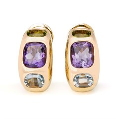 Chanel 18k Yellow Gold Amethyst Peridot Baroque Earrings