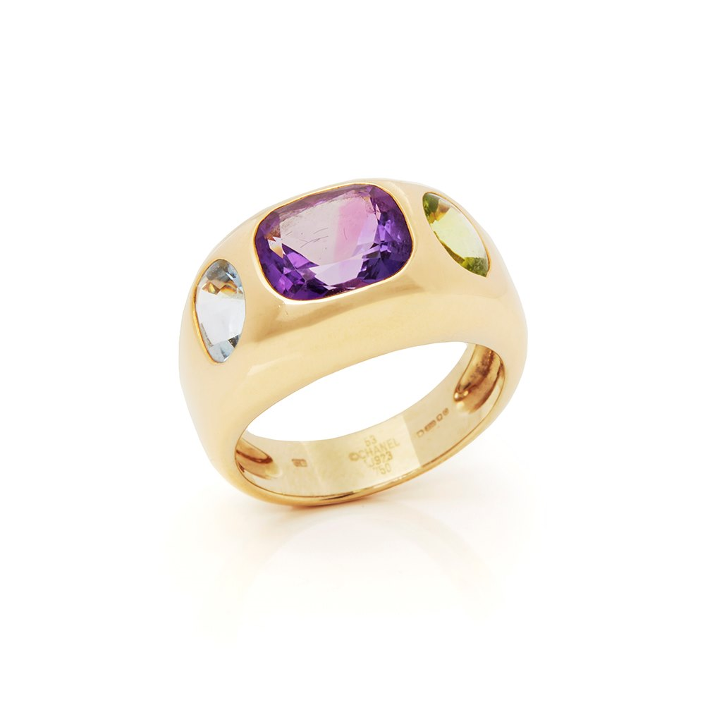 Chanel 18k Yellow Gold Amethyst Peridot Baroque Cocktail Ring