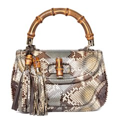 Gucci Khaki Python Leather Bamboo Classic Top Handle