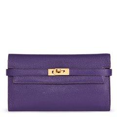 Hermès Violet Chevre Mysore Leather Kelly Long Wallet