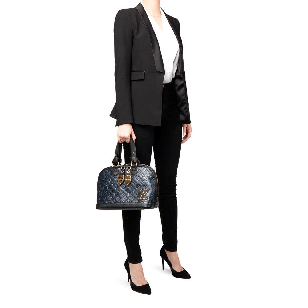 Louis Vuitton Blue & Black Monogram Embossed Calfskin Leather Double Jeu  Neo-Alma