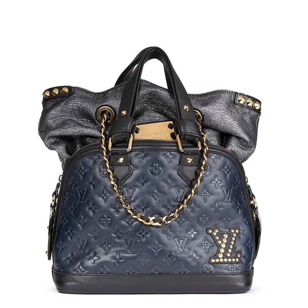 15e8f2b75c5f Louis Vuitton Blue   Black Monogram Embossed Calfskin Leather Double Jeu  Neo-Alma
