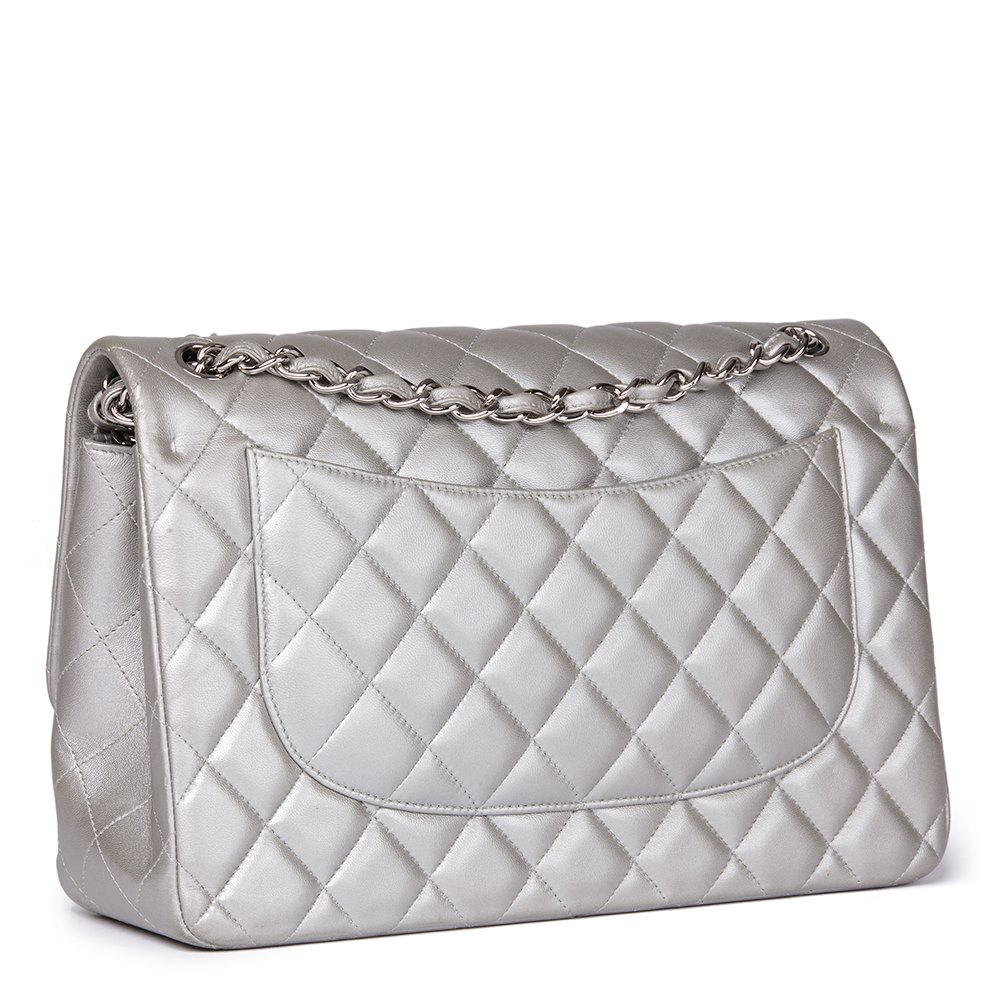 472900d06a65 Chanel Silver Metallic Quilted Lambskin Jumbo Classic Double Flap Bag