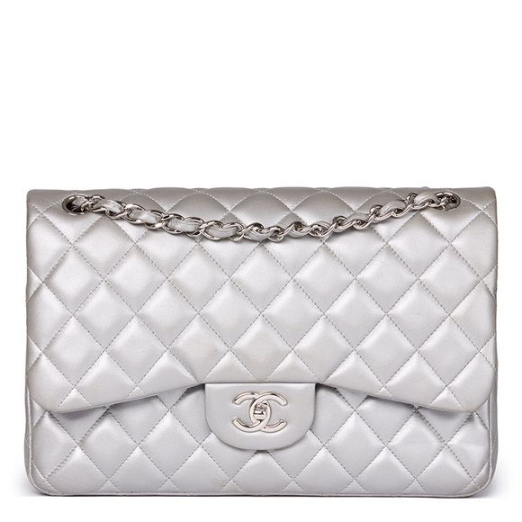 Chanel Silver Metallic Quilted Lambskin Jumbo Classic Double Flap Bag