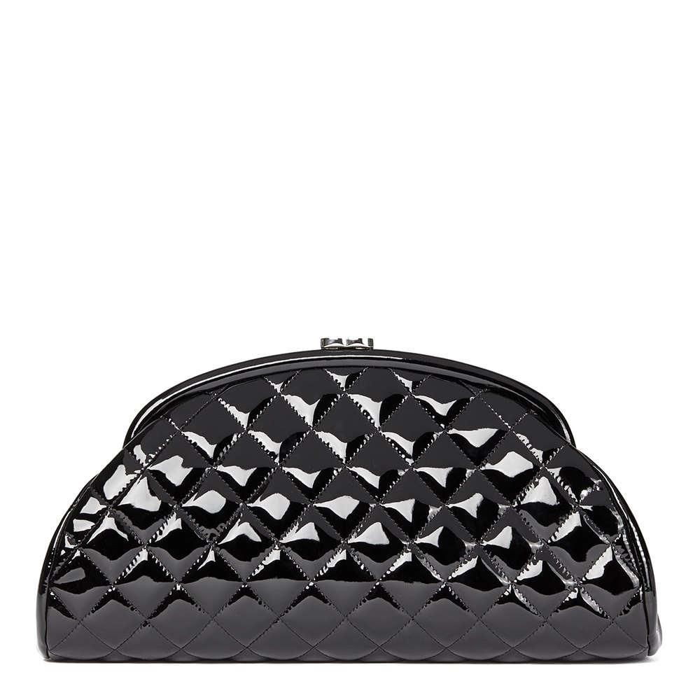 Chanel Black Patent Leather Timeless Clutch fb6adf8ef6084